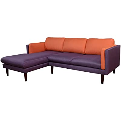 Beverly Furniture Angustine Left Chaise L Shape Sofa, Blue and Orange
