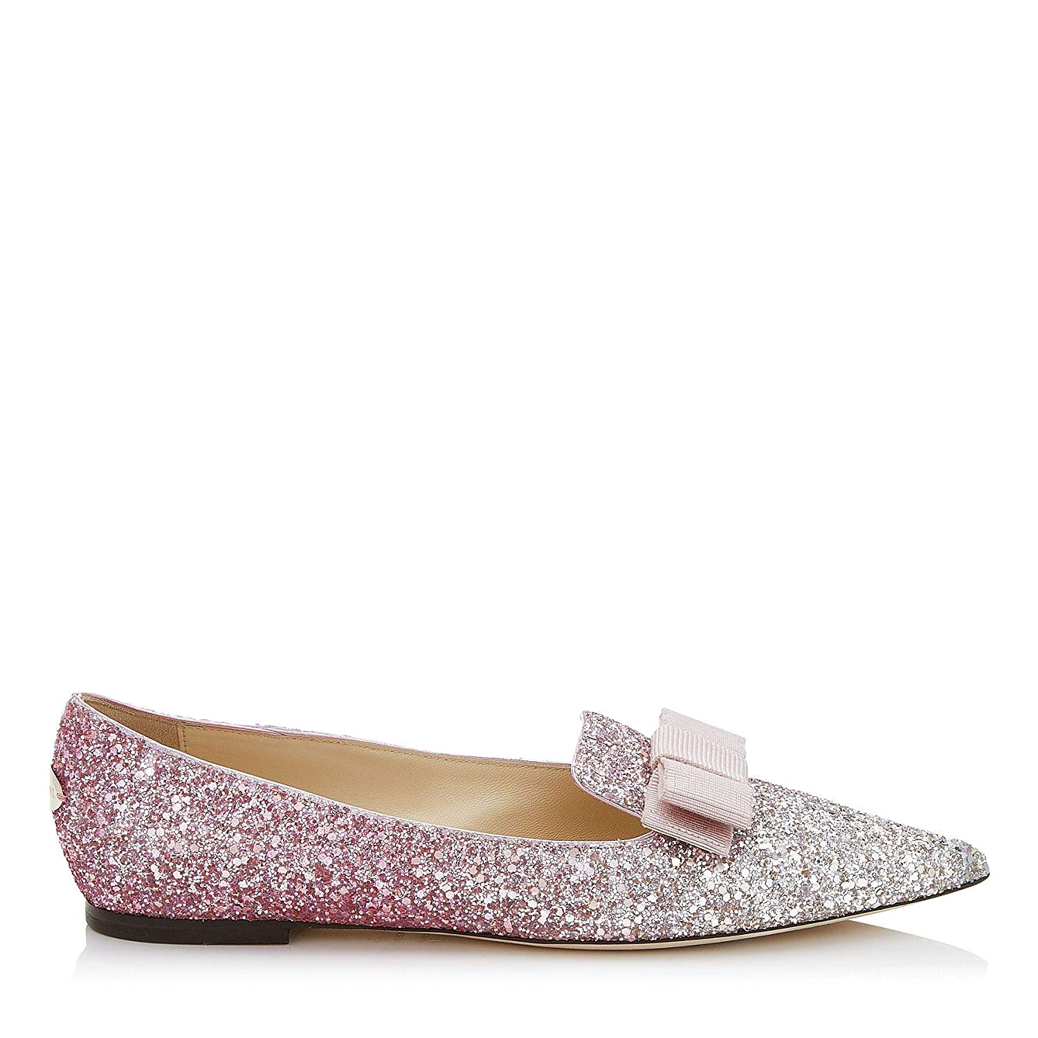- Jimmy Choo Women's GALAVOGPLATINUMFLAMINGO Pink Fabric Loafers