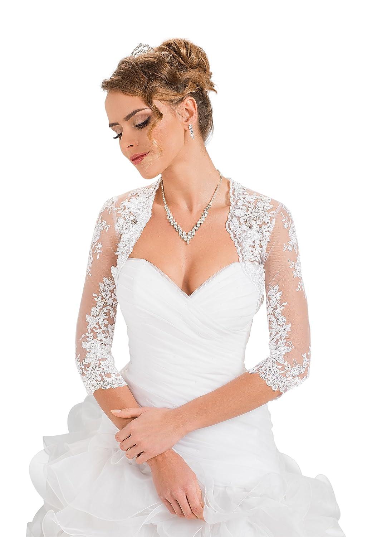 ed5939a6c1 Amazon.com: Wedding Bridal Lace Bolero Shrug Jacket Stole Shawl: Clothing