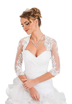 63038b513c5 Amazon.com  Wedding Bridal Lace Bolero Shrug Jacket Stole Shawl  Clothing