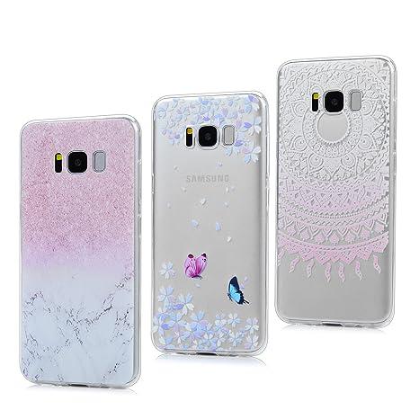 3x Funda para Samsung Galaxy S8, Carcasa Silicona Gel Case Ultra Delgado TPU Goma Flexible Cover para Samsung Galaxy S8 - Mármol + Totem Rosa + ...