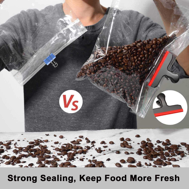 resistenti e ermetici con copertura in silicone in 5 diversi colori Argento Hulisen confezione da 5 clip per sacchetti con bordi in silicone