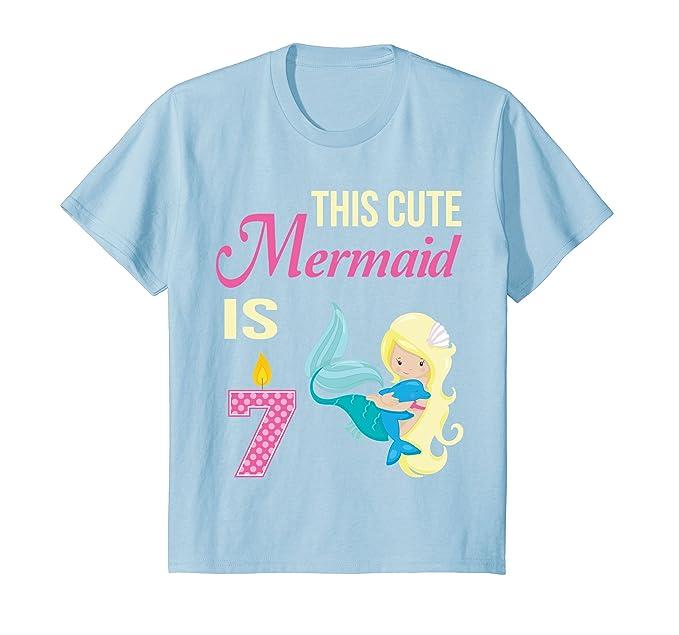 Kids Mermaid Birthday Shirt 7 Year Old 7th Party Girls 4 Baby Blue