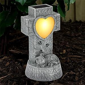 SUNNYPARK Cat Pet Memorial Stone Gifts - Solar Decor Garden Stones Light Pet Lost Sympathy Gift