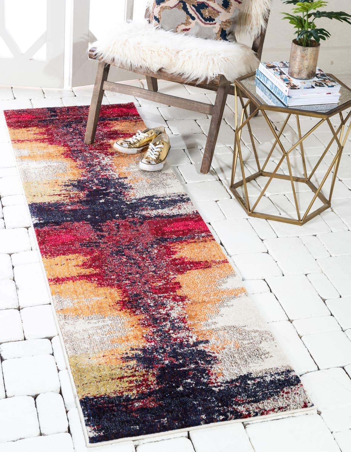 Unique Loom Estrella Collection Vibrant Abstract Orange Runner Rug 2 2 x 6 7