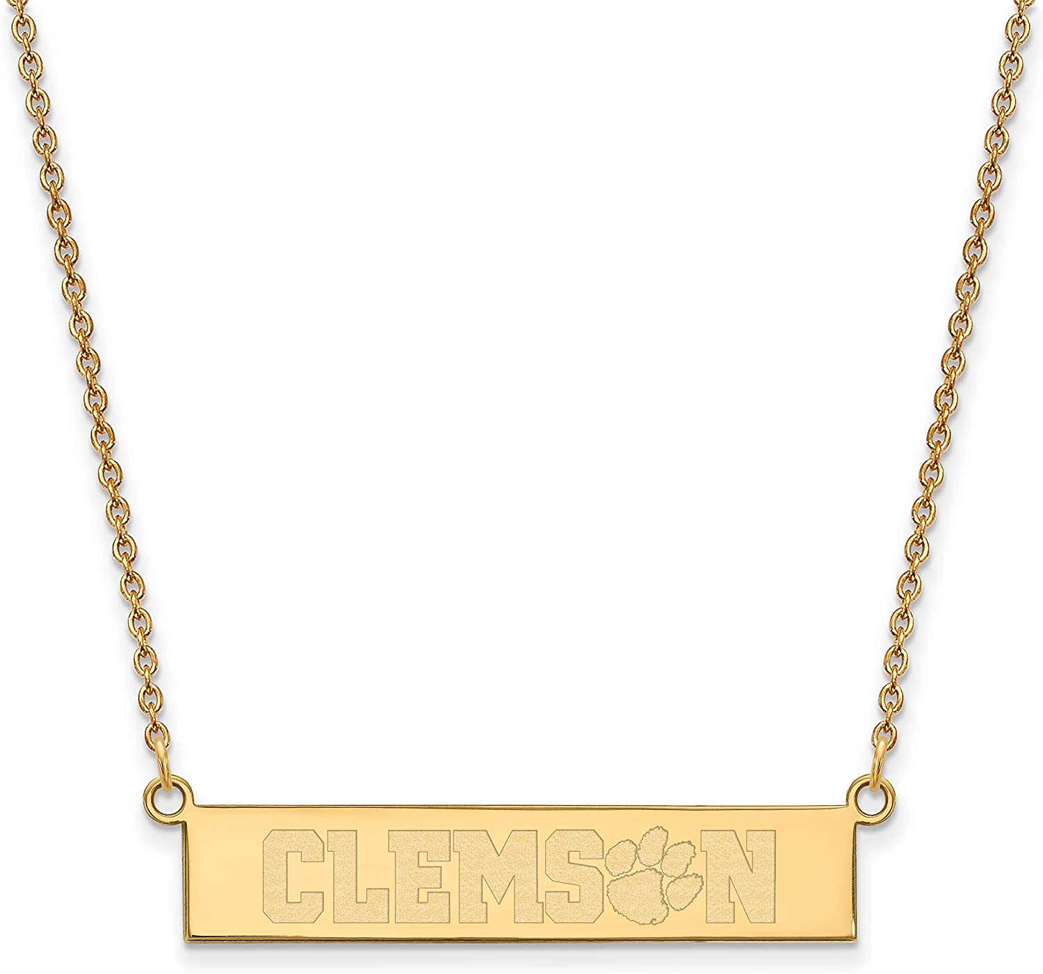 Clemson University Tigers School Name on Bar Pendant Necklace in Gold Plated Sterling Silver18 Inches