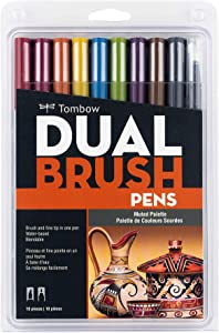Tombow 56186 Dual Brush Pen Art Markers, Muted, 10-Pack. Blendable, Brush and Fine Tip Markers