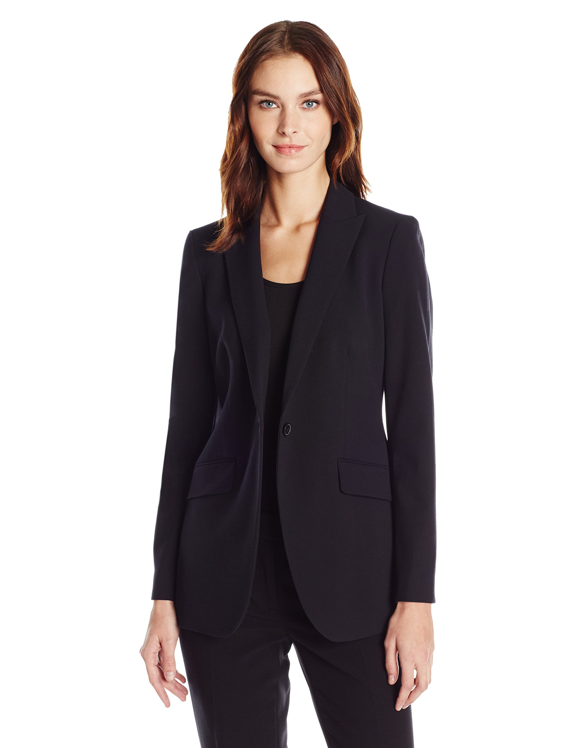 Anne Klein Women's Long 1 Button Jacket, Black, 12