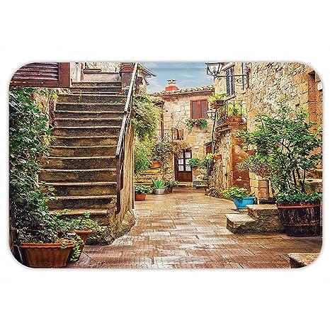 kisscase Custom puerta mattuscan Decor vista de un antiguo Mediterráneo calle con piedra Rock housein italiano