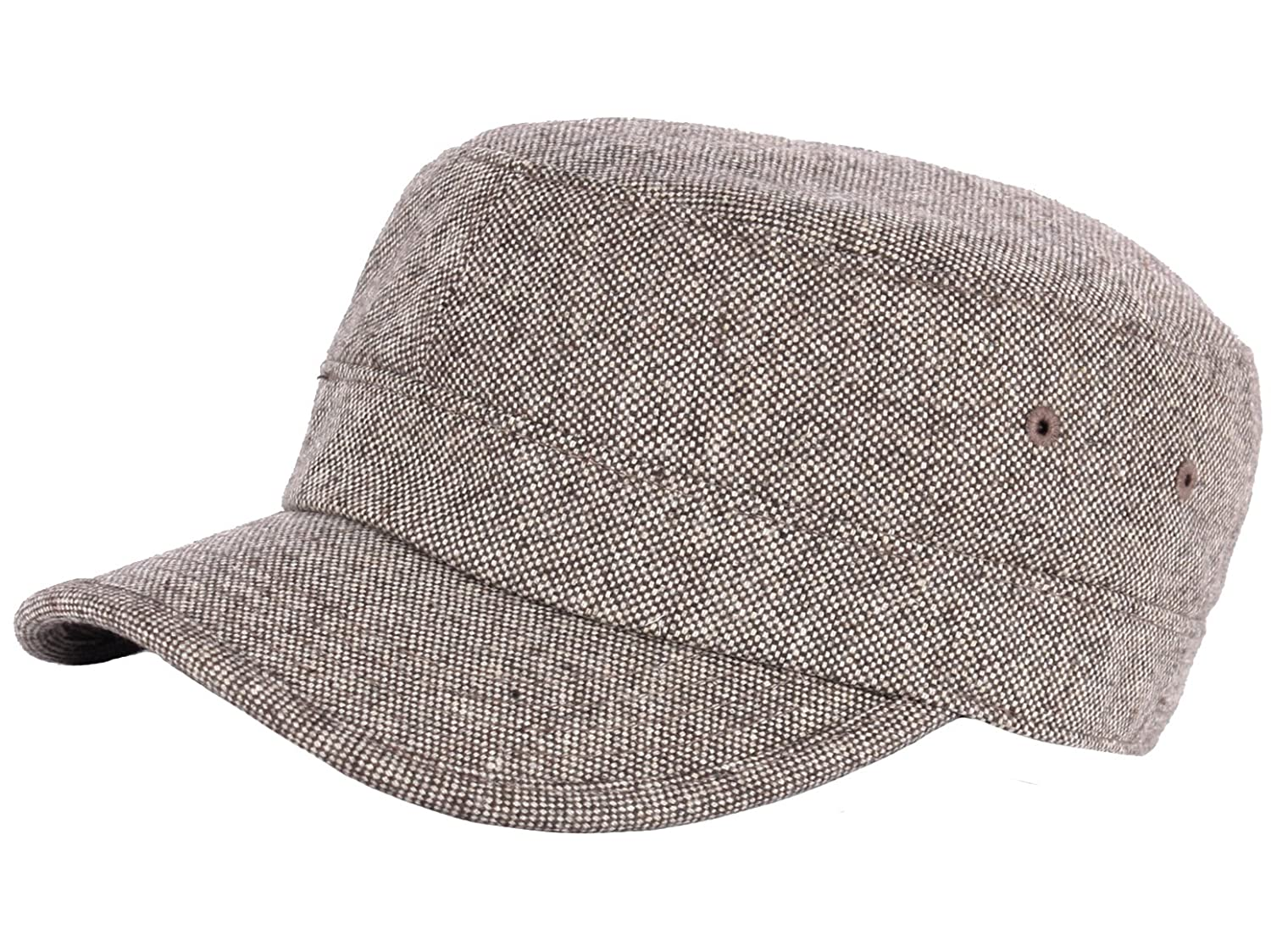 21c328398a8 RaOn A123 Homespun Harris Donegal Tweed Pattern Fabric Army Cap Cadet  Military Hat (Brown) at Amazon Men s Clothing store