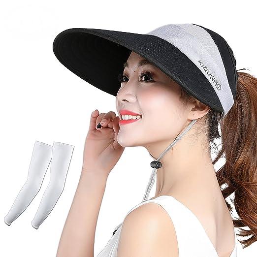 4e416c74 Kukcone Women's UV Protection Large Brim Adjustable Sun Hat Summer Outdoor  Travel Beach Visor Cap (