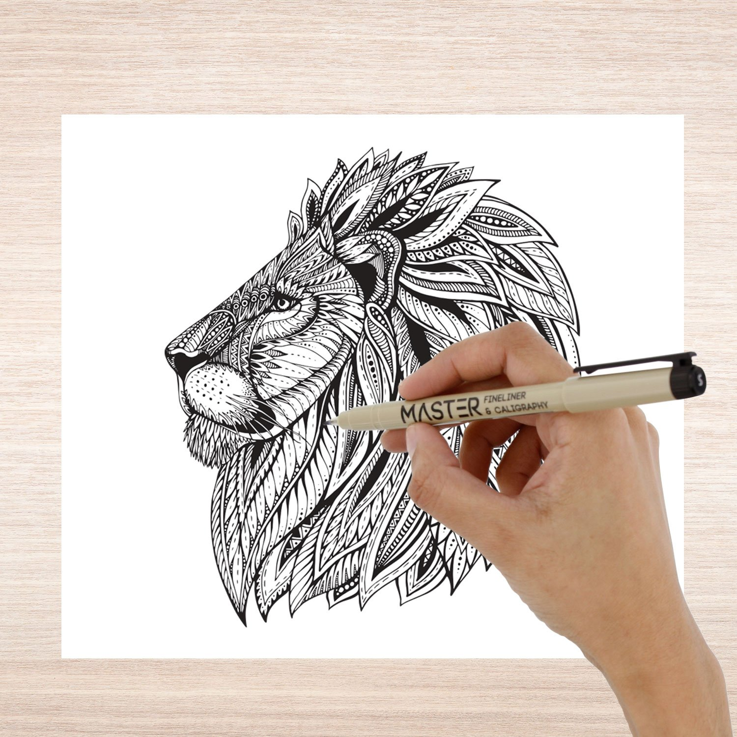 Set of 32 Unique Black and Colored Master Markers Micro-Pen Fineliner Ink Pens - 11 Vibrant Colors & 21 Black Micro Fine Point, Chisel, Brush & Calligraphy Tip Nibs - Artist Illustration Drawing by Mastermarkers (Image #6)