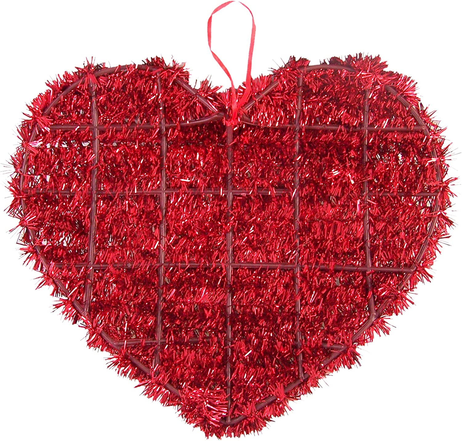 Amazon Com Red Tinsel Heart Love Hanging Party Decoration 13 1 2 Inch Toys Games