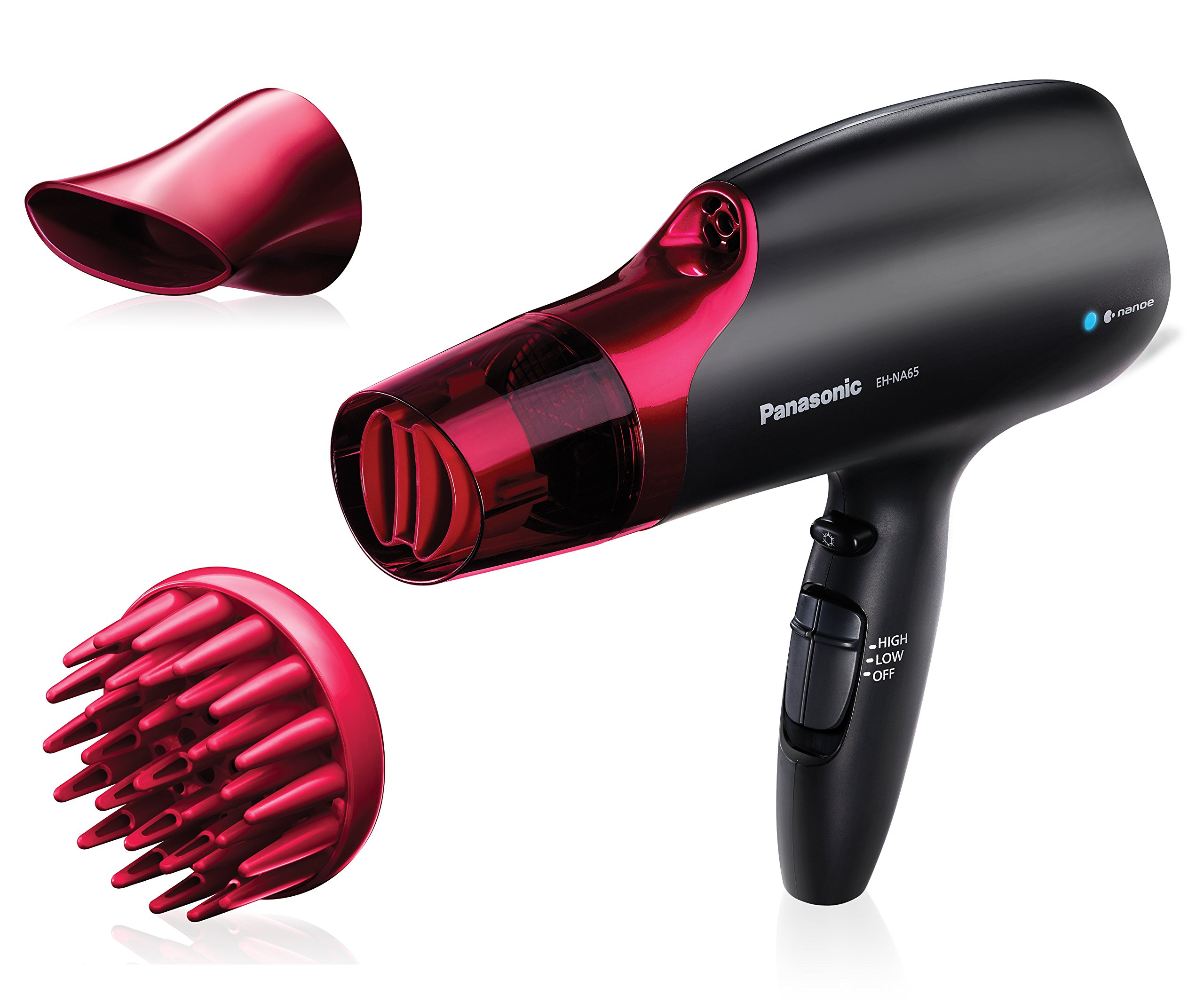 Panasonic EH-NA65-K nanoe Hair Dryer, Professional-Quality with 3 attachments including Quick-Dry Blow Dry Nozzle for Smooth, Shiny Hair
