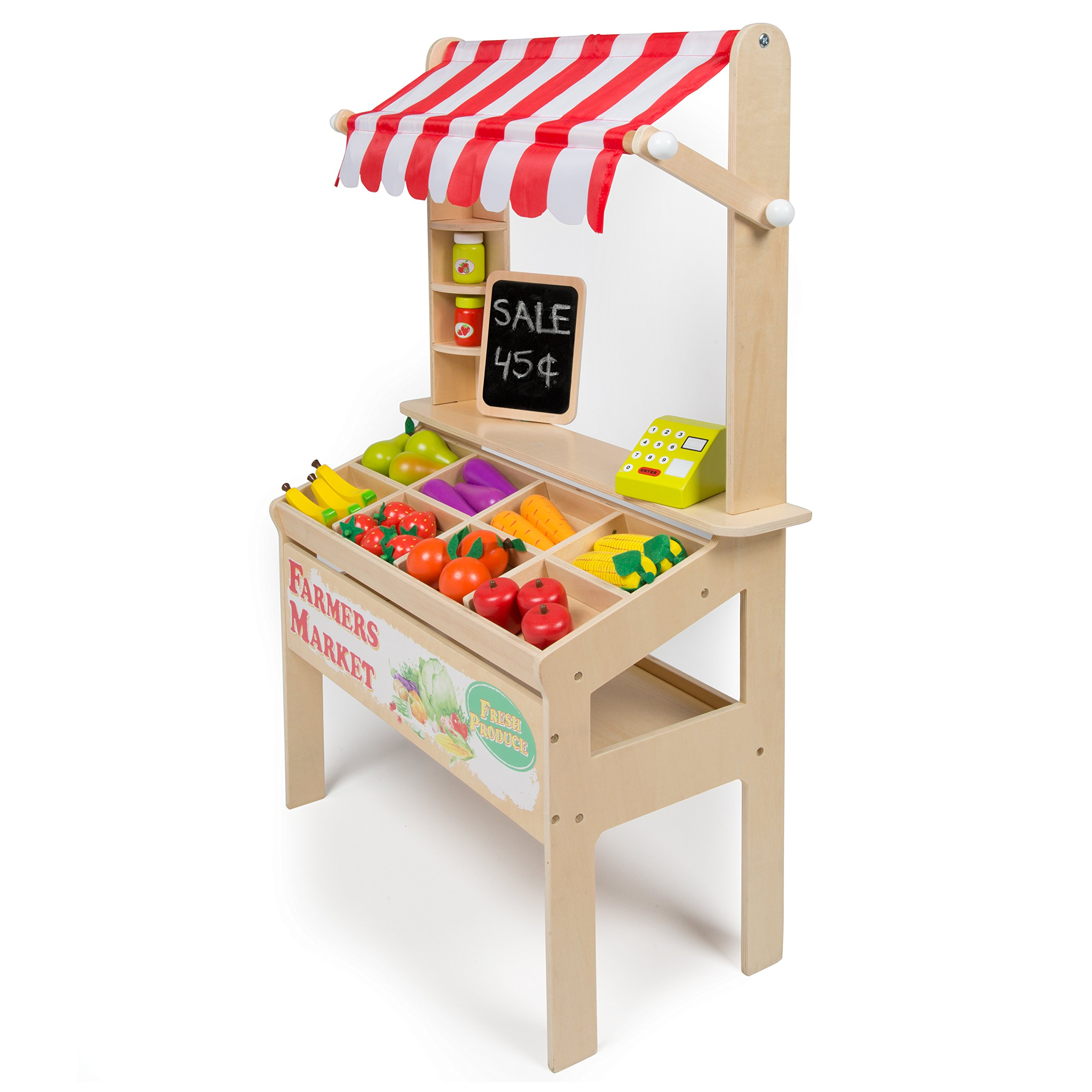 Wooden Farmers Market Stand - Kid's Playroom Furniture Grocery Stand for Pretend Play (30+ Pieces) - Includes Fruit, Chalkboard, and Cash Register