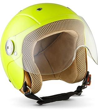 SOXON SK-55 Kids Neon /· Vespa-Helmet Biker Jet-Helmet Kids-Helmet Cruiser Motorcycle-Helmet Mofa Vintage Chopper Pilot Jet-Helmet Scooter-Helmet Retro Bobber Kids Kids /· ECE certified /· incl Visor /· incl Cloth Bag /· Yel