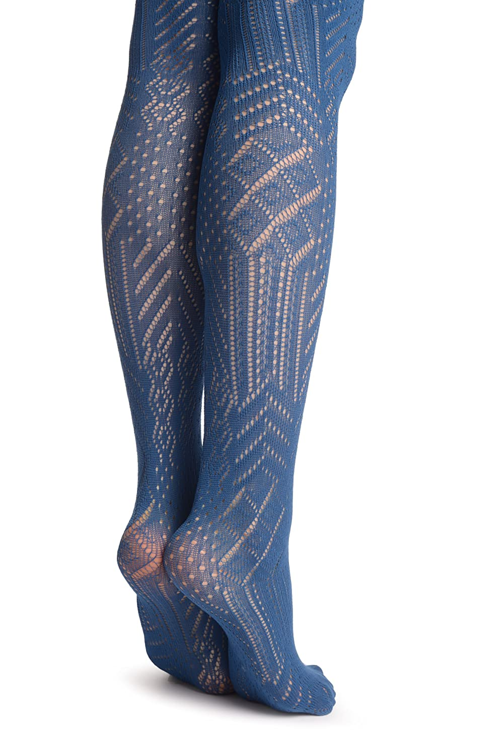 6afc593935d Navy Blue Geometrical Crochet Lace - Blue Geometrical Tights  Amazon.co.uk   Clothing
