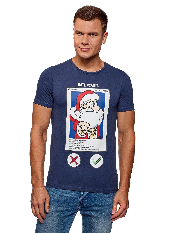 oodji Ultra Uomo T-Shirt in Cotone con Stampa Babbo Natale RIFICZECH s.r.o. 5L611406M