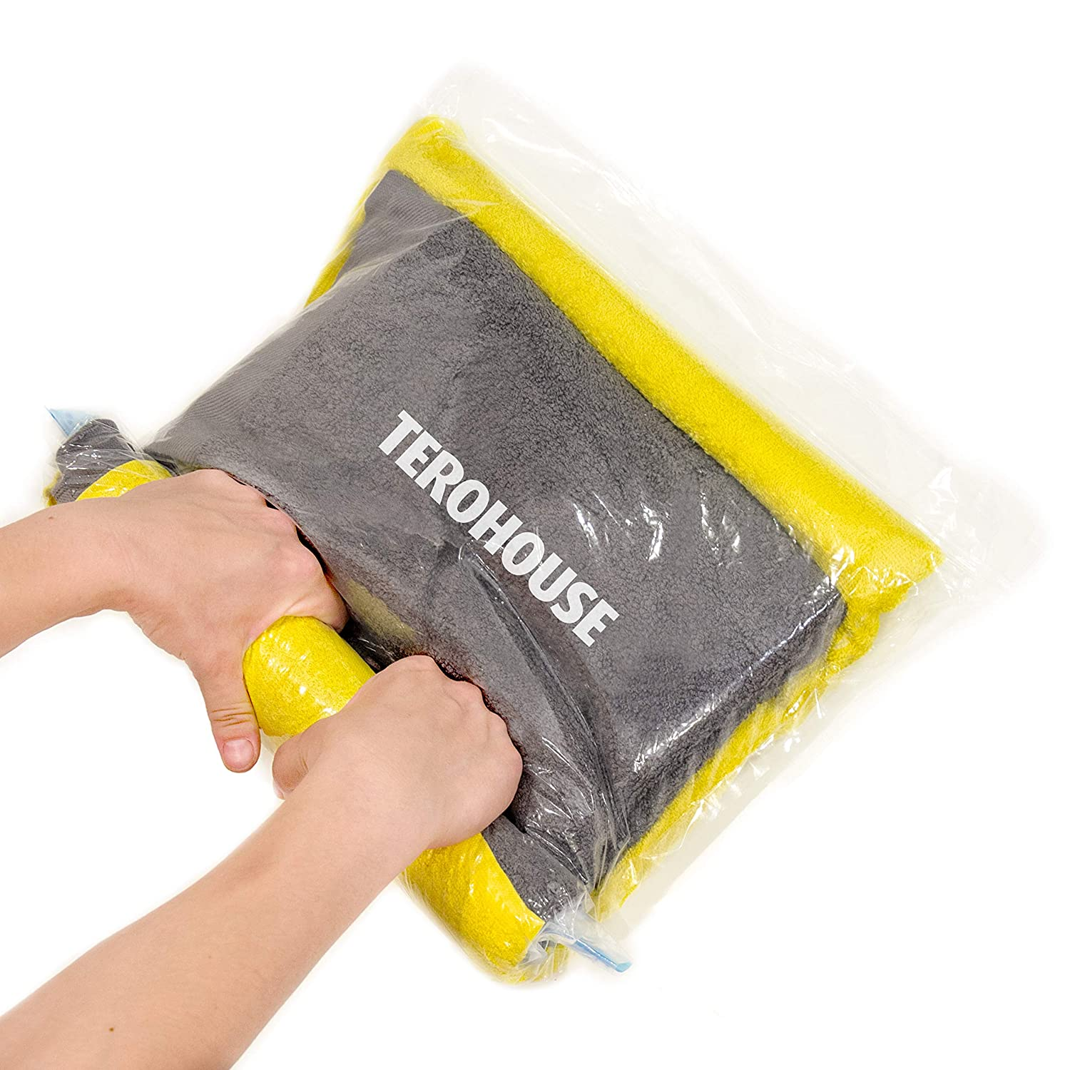 "TeroHouse 10 Travel Storage Bags For Clothes Space Saver Packing Sacks - [5x Large 28x20"", 5x Medium 24x16""] Rolling Compression Bag For Luggage. Air Space Roll Up Bags No Vacuum or Pump Needed"