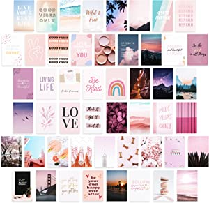 Boho Aesthetics Wall Collage Kit - 50 Pcs Pink Pur 4x6