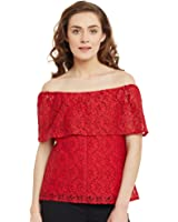 Femella Fashion's Red Off shoulder Lace Top