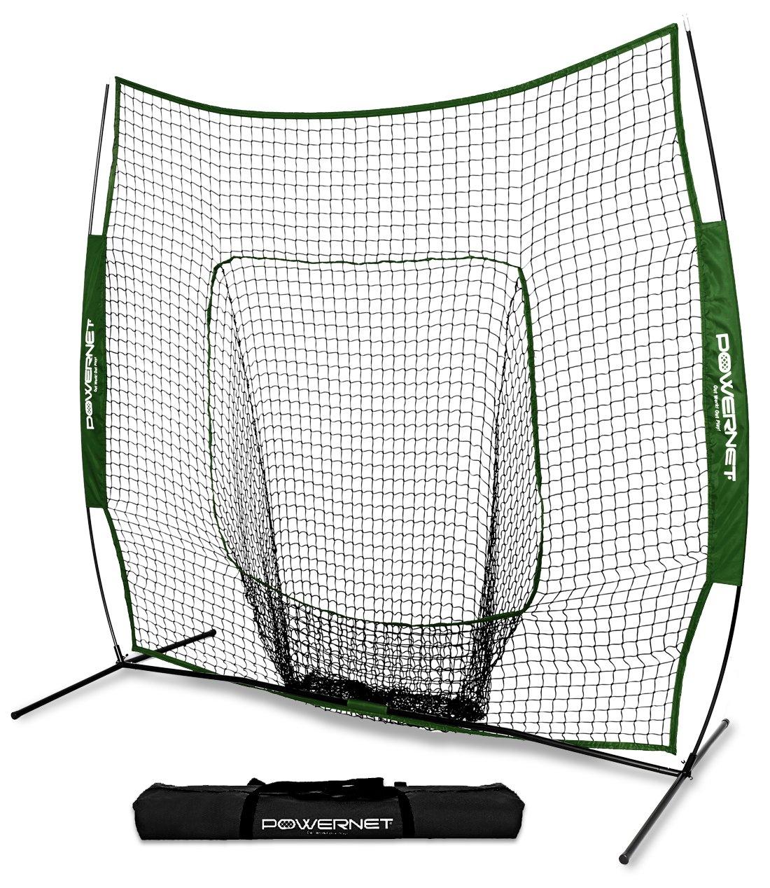 PowerNet Team Color Baseball Softball 7x7 Hitting Net w/Bow Frame (Green) by PowerNet