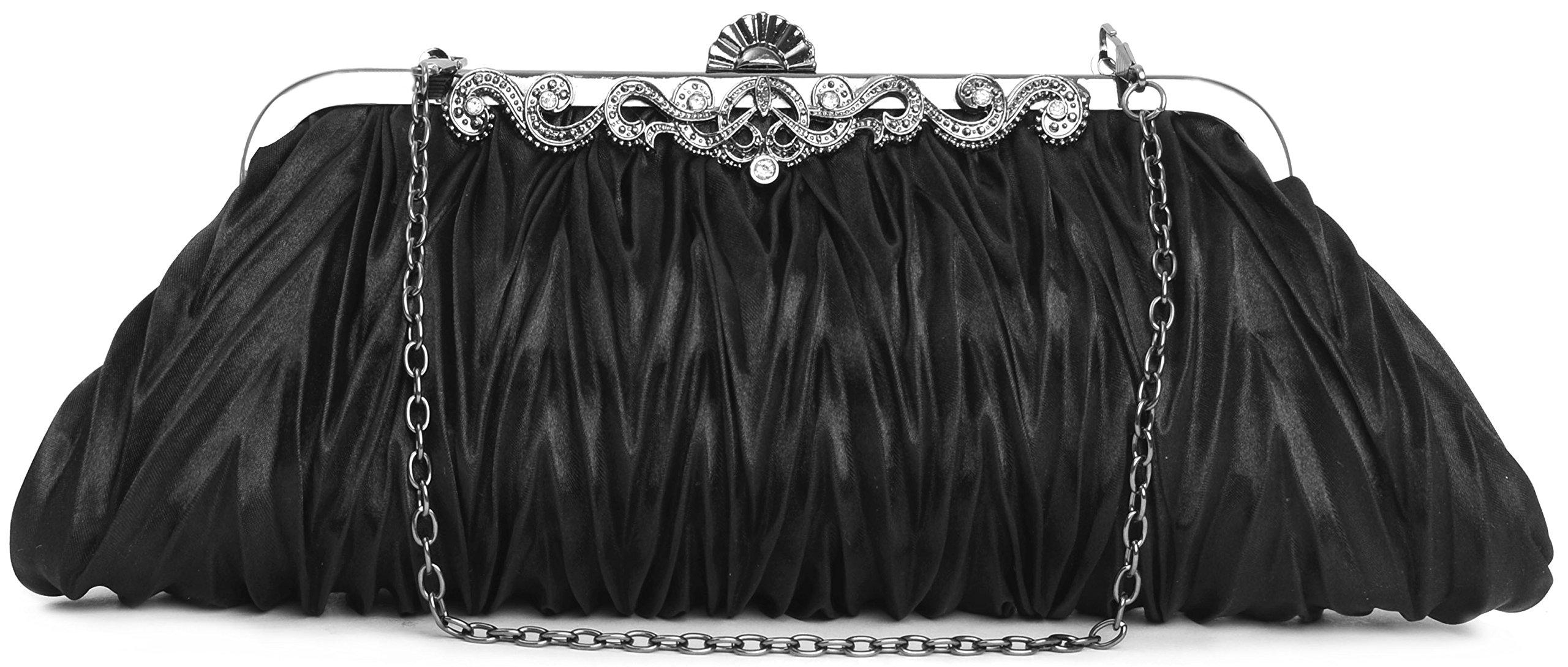 Pulama 1920s Crossbody Bag for Women, Vintage Evening Clutch Purse Wallet, Black
