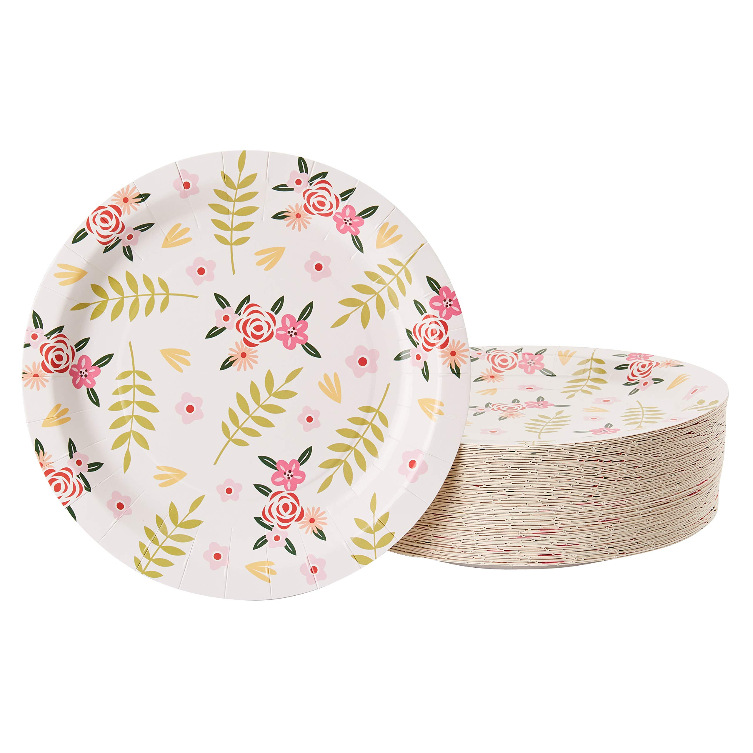 Floral Paper Plates - 80-Pack Disposable 9-Inch Floral Plates, Tea Party, Weddings, Bridal Shower Party Supplies, Vintage Flowers Print, Round Plates for Appetizer, Lunch, Dessert by Juvale