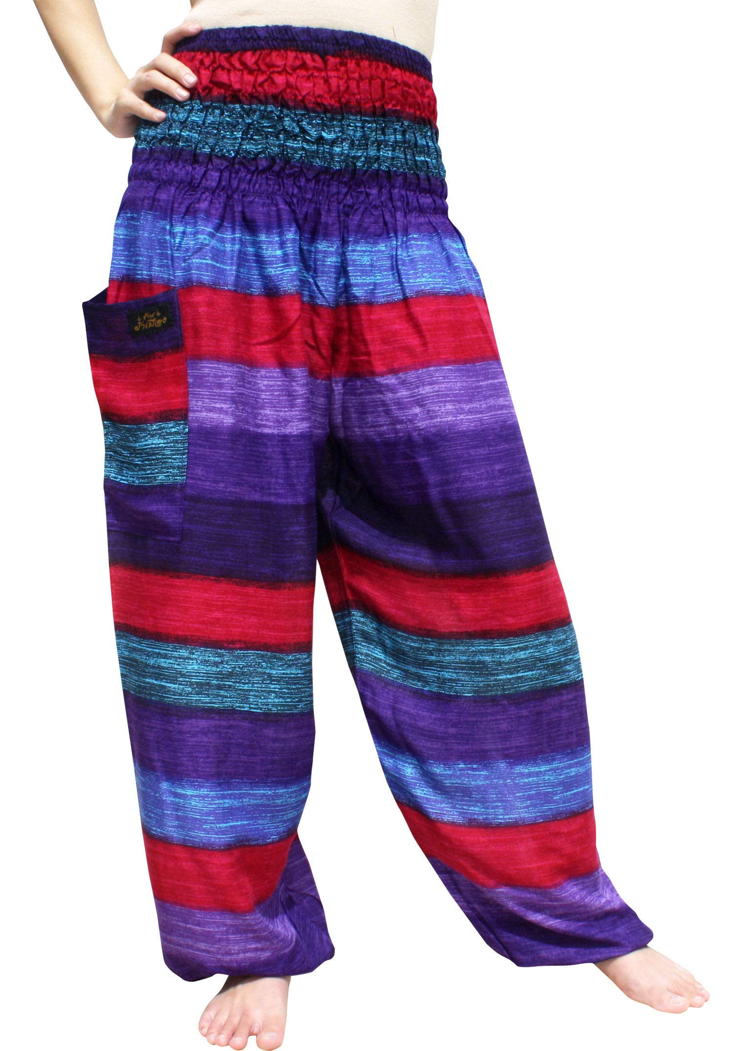 RaanPahMuang Brand Smock Waist Rayon Mixed Art Harem Baggy Aladdin Pants, Large, Rainbow Stripes - Pink Purple by RaanPahMuang