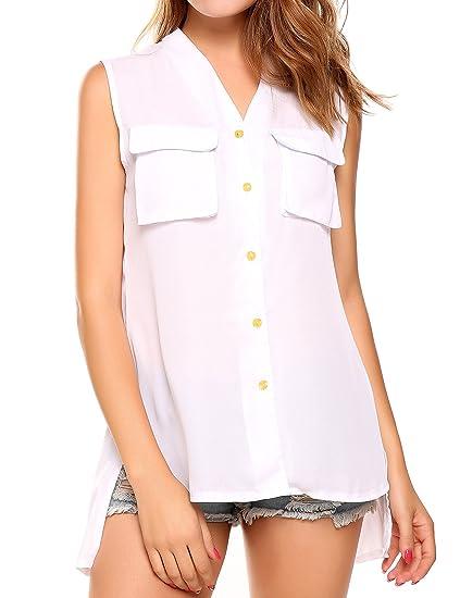 252f1dbfac3def Meaneor Women's Casual Summer V-neck Tank Tops Sleeveless Chiffon Shirt