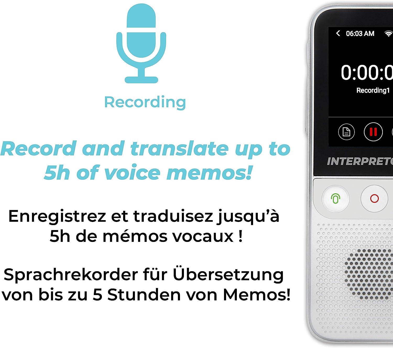 LEXIBOOK- Interpretor 2-Traductor de Voz Instant/áneo 137 Idiomas Traducci/ón de Notas Wi-Fi y sin Conexi/ón Fotos Conversaci/ón Toma de Auriculares