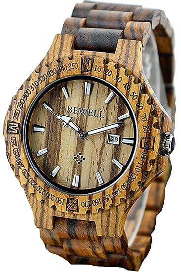 Findtime Hombre Madera distintivo raros Quartz Relojes deportivos Analogico: Amazon.es: Relojes