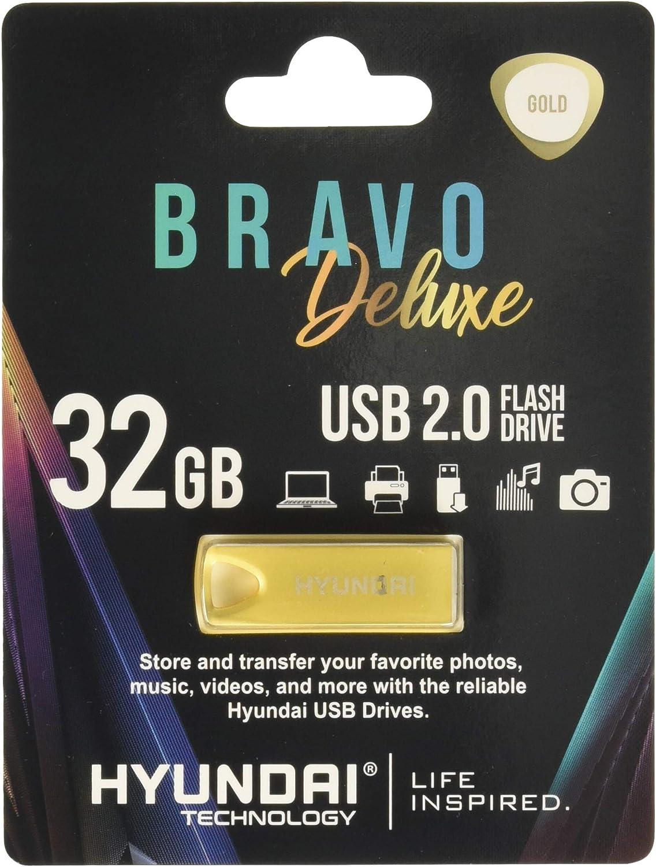 Gold Hyundai Technologies U2BK//32GAG 32GB Bravo Deluxe USB 2.0 Flash Drive