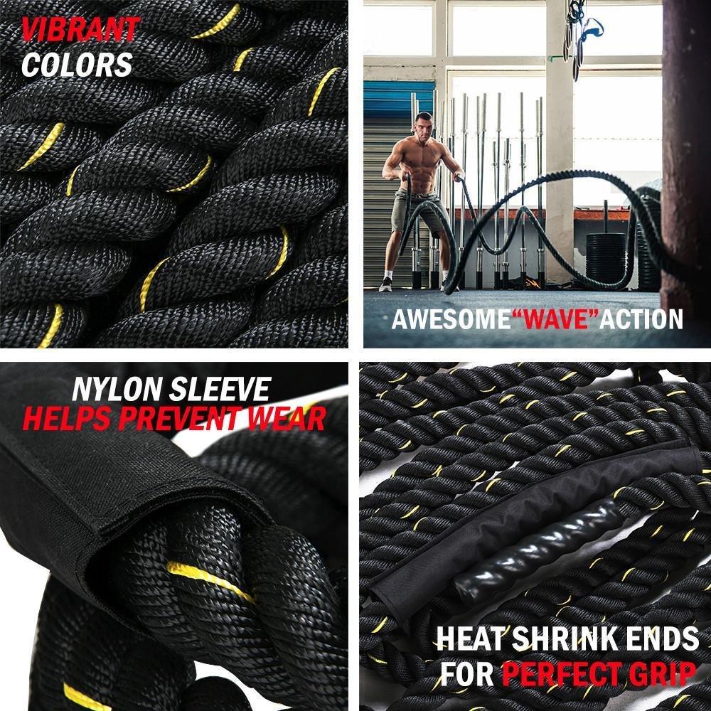 Yaheetech Training 1.5'' Polyester 50' Battle Rope Exercise Workout Strength Undulation Exercise Ropes Training Ropes w/magic tape sleeve,Black by Yaheetech (Image #3)