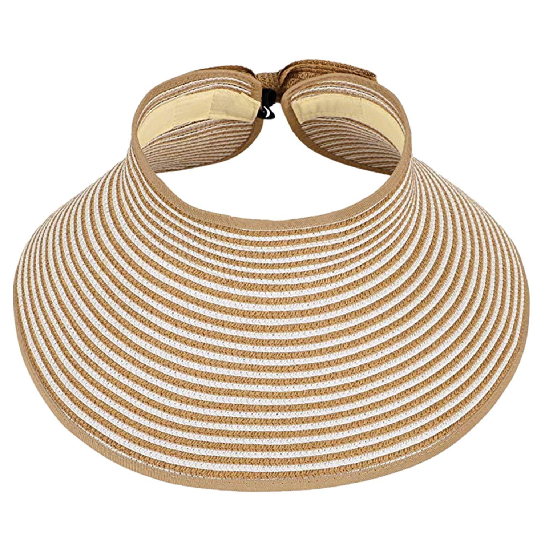 YHBAO Womens Summer Foldable Wide Brim Sun Visor Roll Up Beach Straw Hat