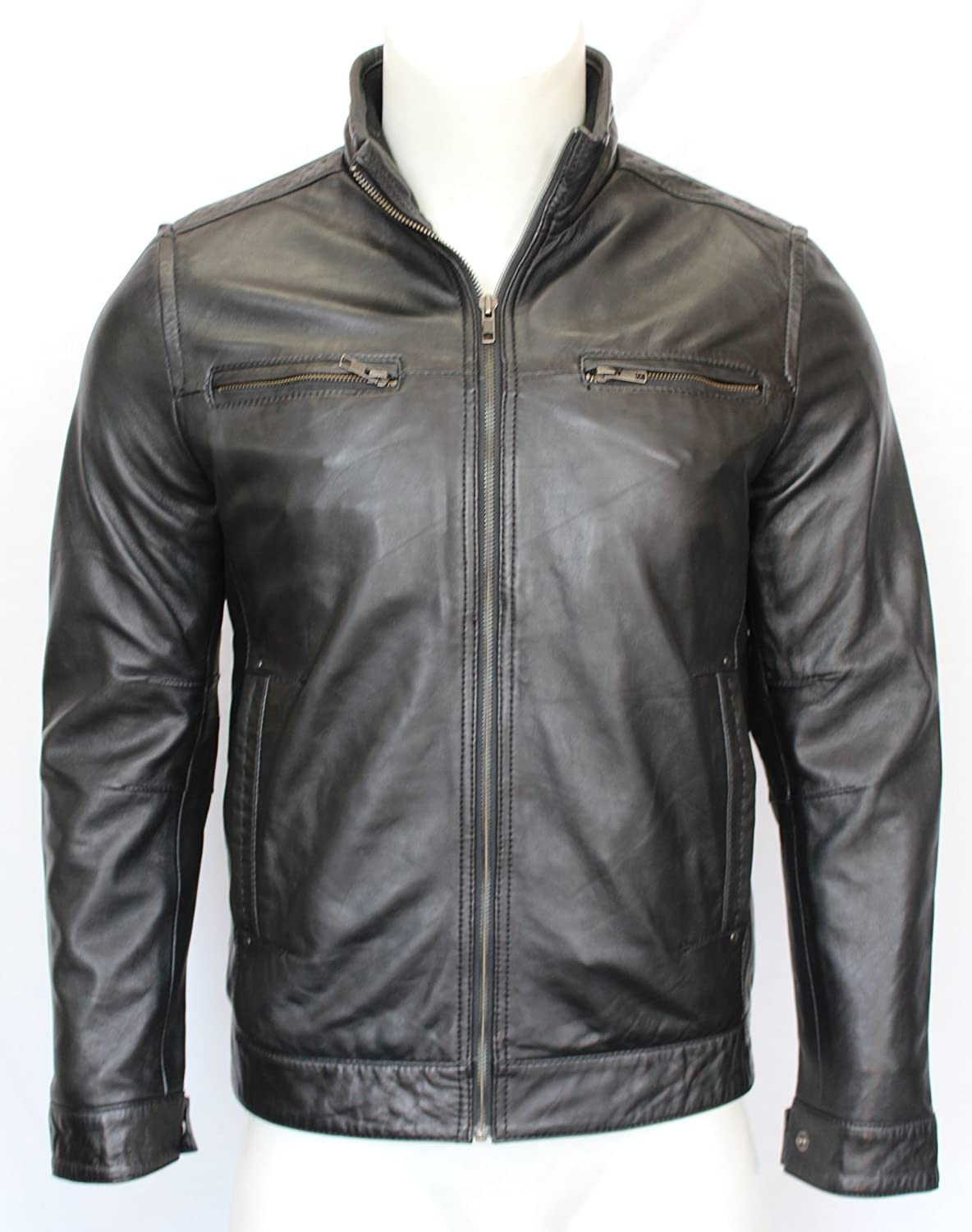 Romeo Mens Gents Black Designer Fitted Classic Zipped Casual Real Leather Jacket
