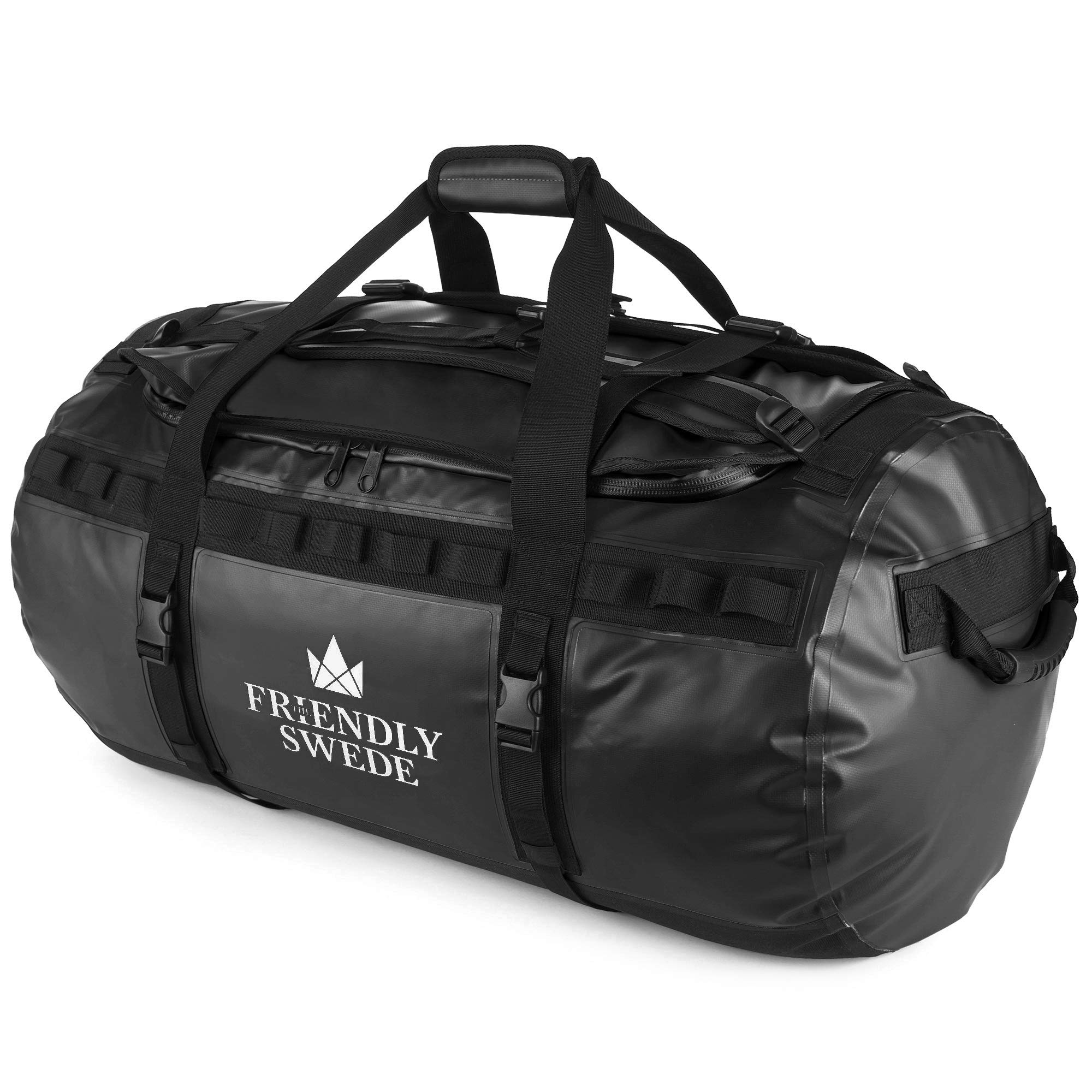 Duffel bag with Backpack Straps for Gym, Travels and Sports - SANDHAMN Duffle - by The Friendly Swede (Black)