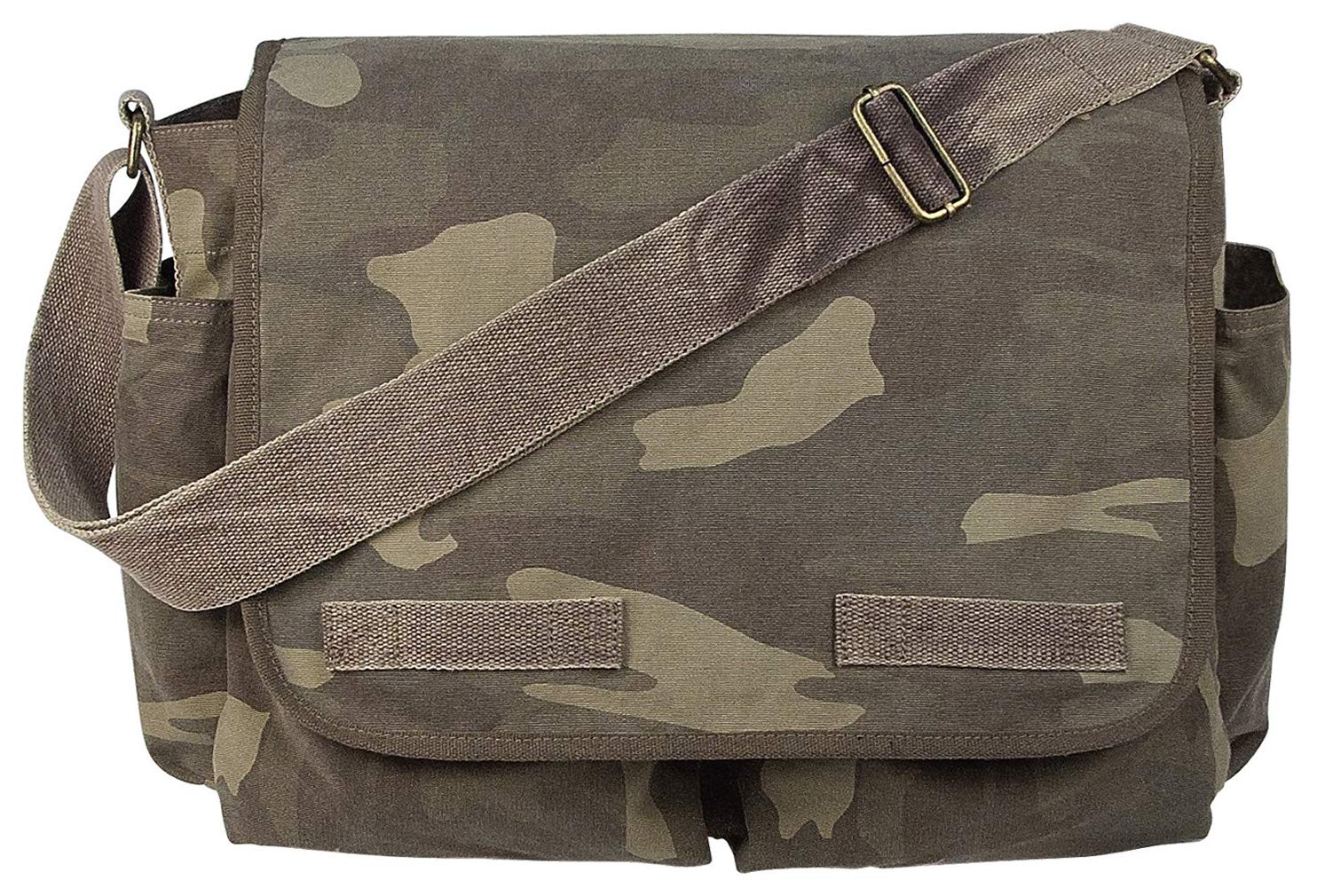 Rothco Vintage Washed Canvas Messenger Bag, Woodland Camo