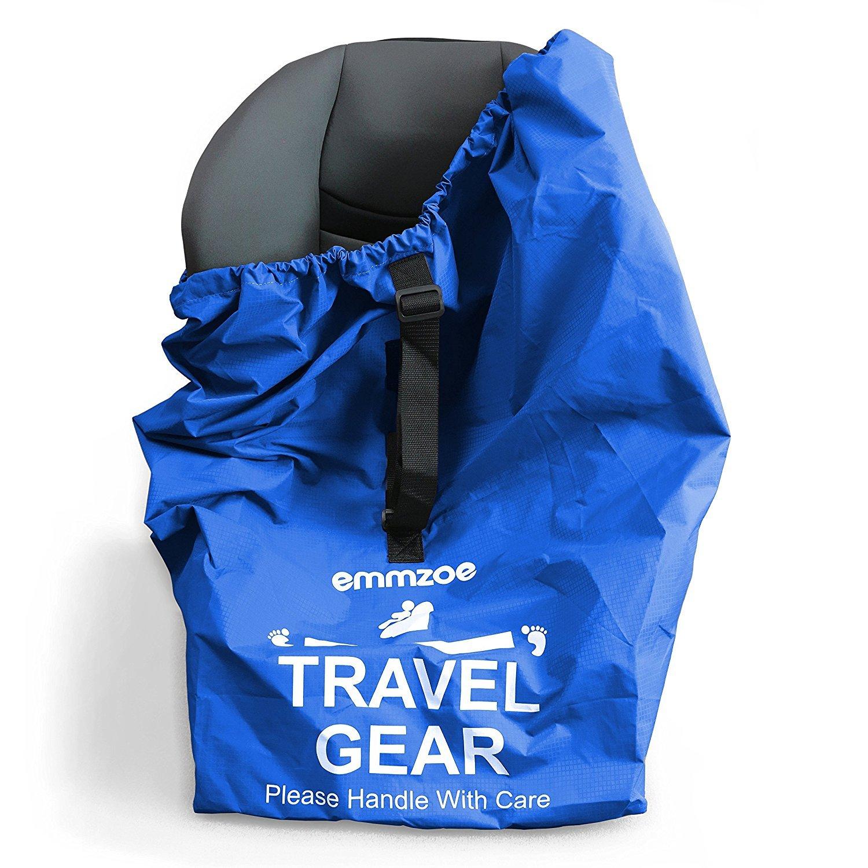Emmzoe Premium Car Seat Airport Gate Check Travel Storage Bag Features Durable Nylon, Foldable Pouch, Hand/Shoulder Strap (Blue) by Emmzoe