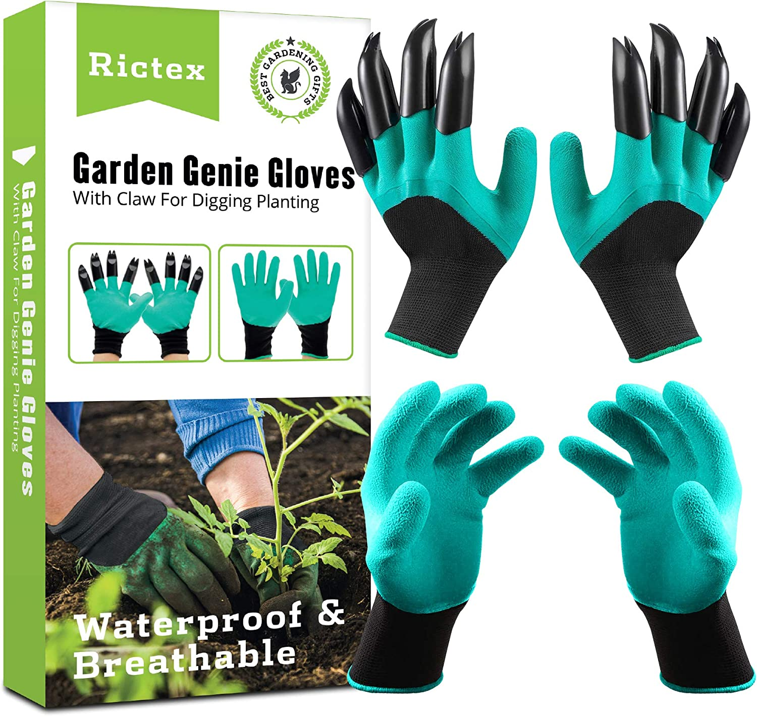Rictex Garden Genie Gloves with Claws, Waterproof Gloves For Digging and Planting, Gardening Tool for Women and Men,2 Pairs