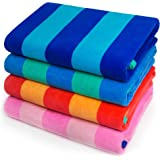 Softerry - Extra Soft Beach Towel 30 x 60 inch Cabana Stripe Hotel Pool and Resort Style Absorbent Terry 100% Cotton (Royal-T