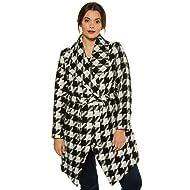87a590c22fb Ulla Popken Women s Plus Size Houndstooth Belted Coat 713247