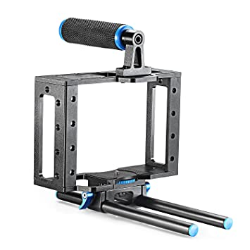 Amazon.com : Neewer Aluminum DSLR Camera Cage Kit With 15mm Rod ...