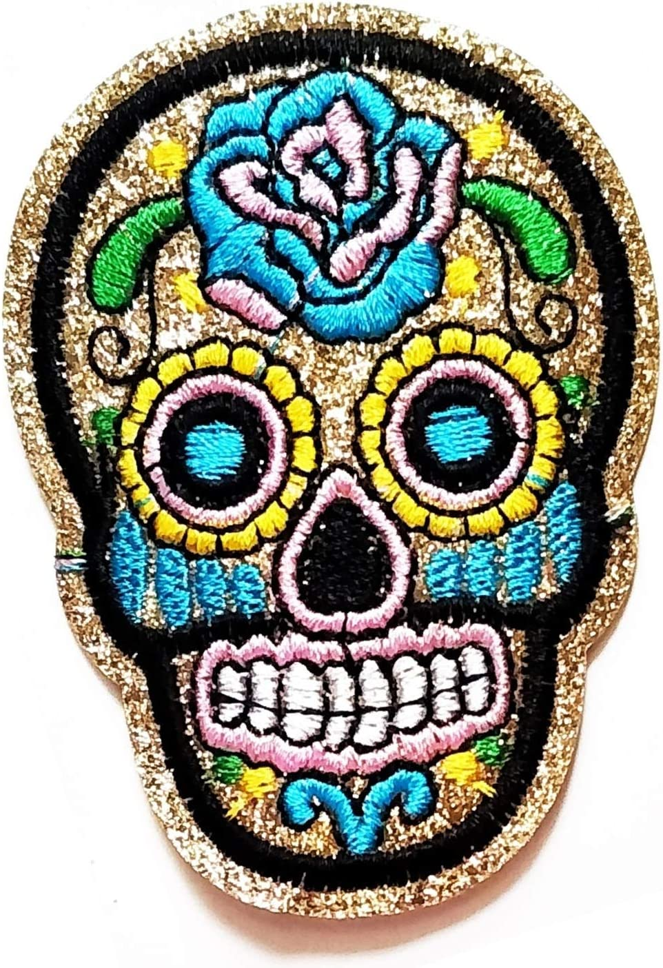 Skeleton Skull Flower Embroidered Iron On Patch Kids Girls Ladies Clothes Badge