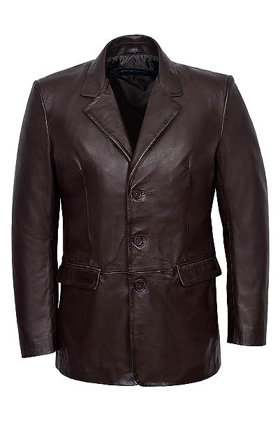 Smart Range Classic Slim Jim para Hombre Blazer MARRÓN Suave napa Real de Tela con una