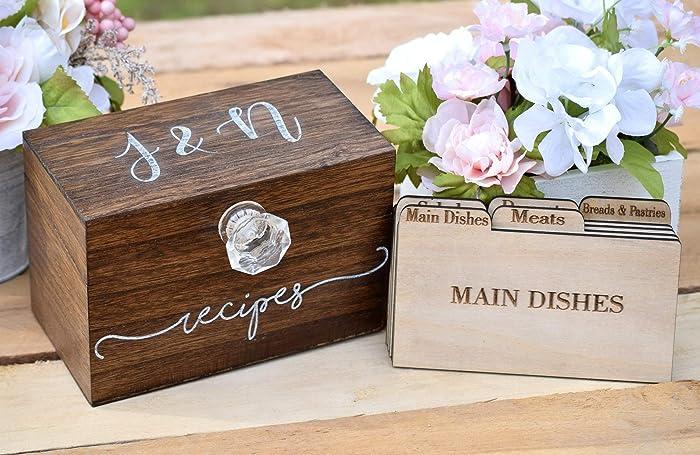 Personalized Recipe Card Box Personalized Gift Rustic Home Decor Recipe Holder Recipe Box Recipe Card Box