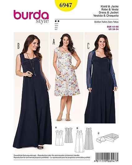 Burda Ladies Plus Sizes Easy Sewing Pattern 6947 Dresses & Bolero
