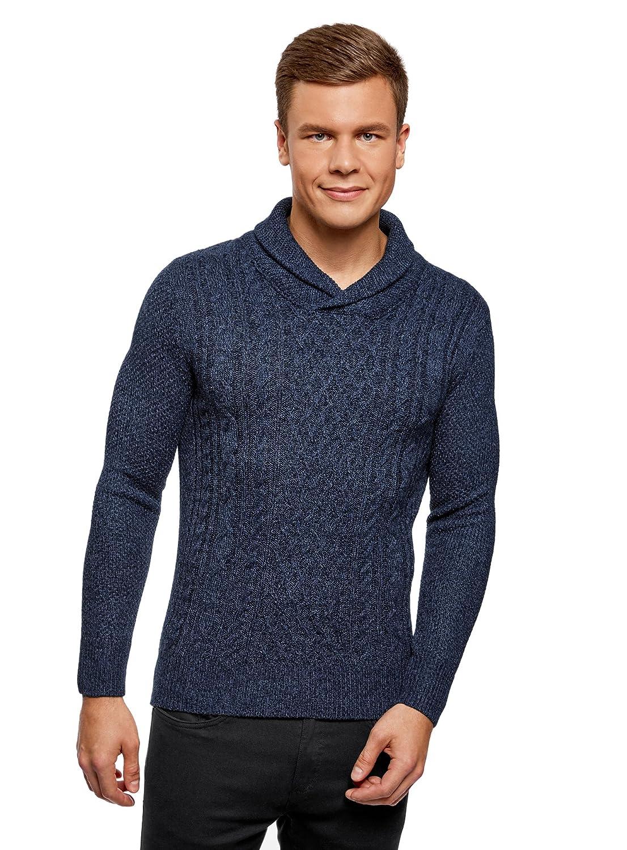 oodji Ultra Hombre Suéter de Punto Texturizado con Cuello de Chal