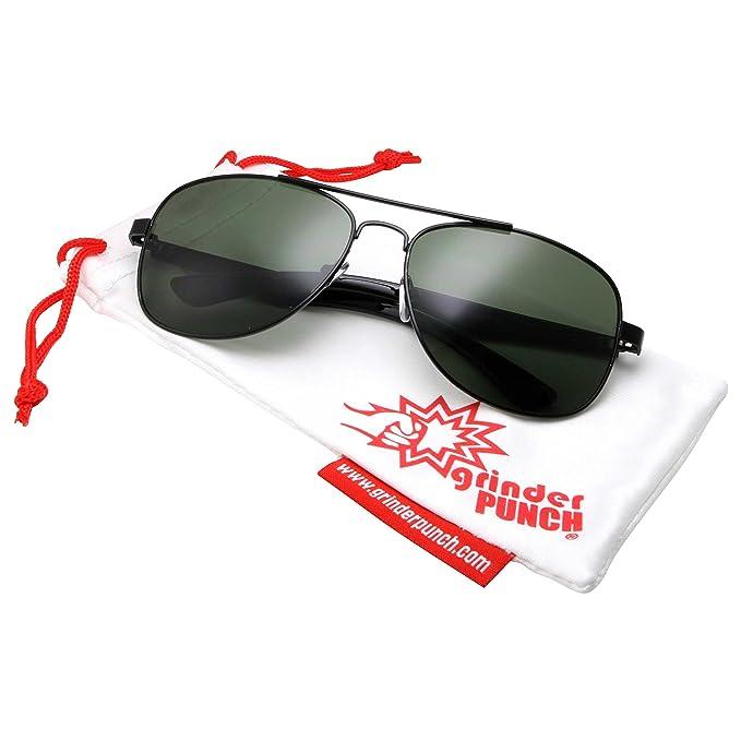 dfab442a93 grinderPUNCH Wide Frame Aviator Sunglasses - 150mm - Black Frame - Green  Lens
