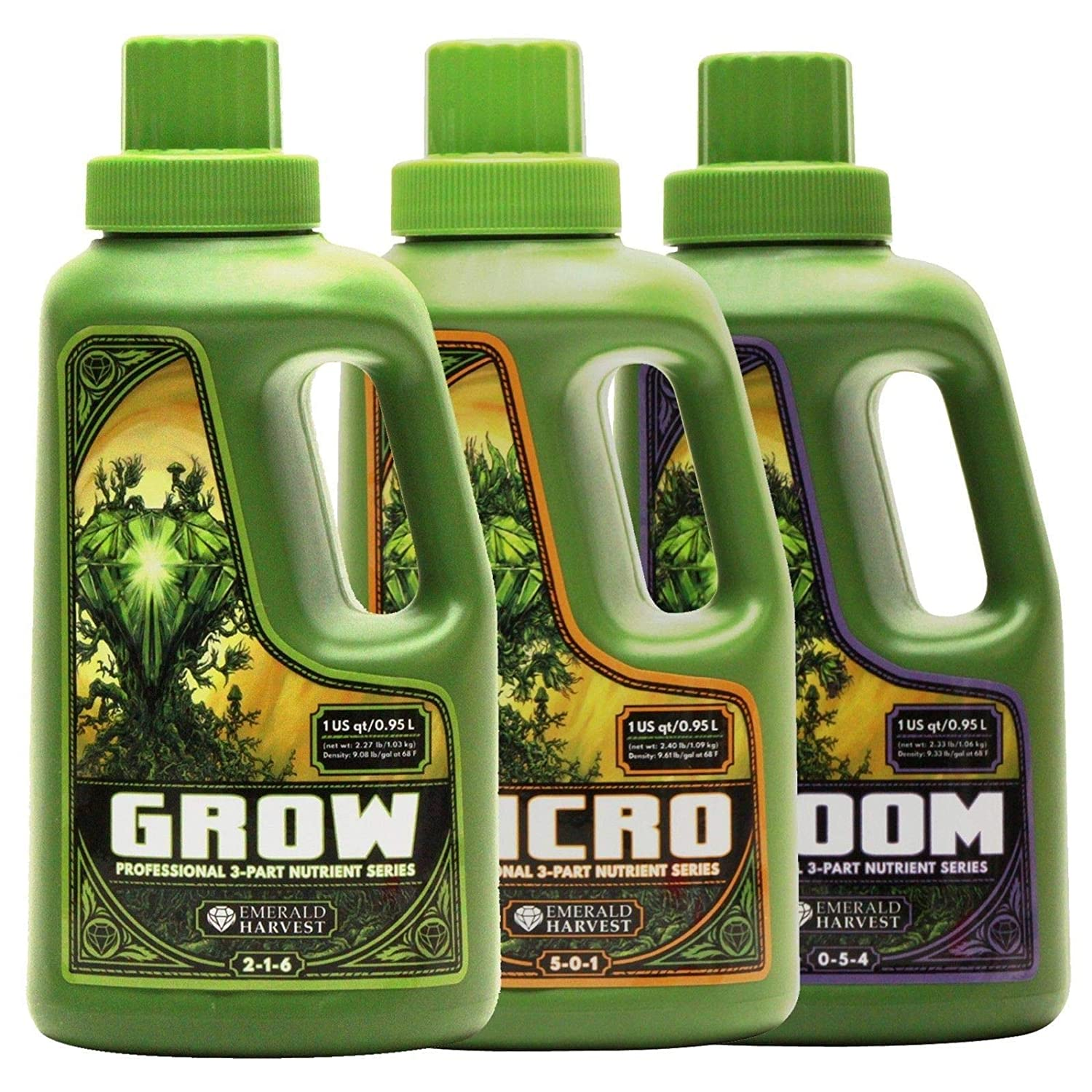 Emerald Harvest Grow Micro Bloom Nutrients Bundle Set Combo Base 0.95 L